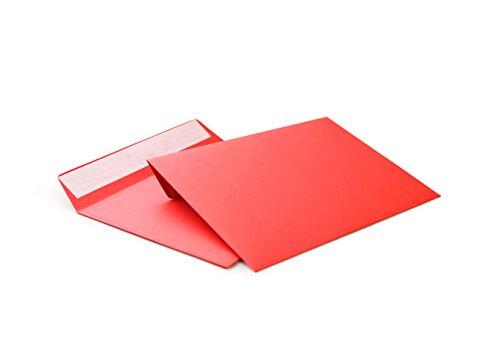 hochwertige Briefumschläge C6 114x162 mm (rot) 120 g/m² ohne Fenster haftklebend (506A)(100)