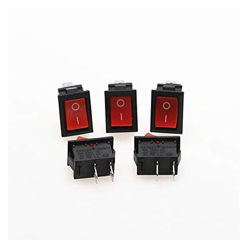Yanqhua Interruptor basculante 5pcs KCD1 Rocker Interruptor de botón del Interruptor Mini-6A 250V 10A 2P KCD1-101 complemento de Encendido/Apagado 21 * 15MM Blanco Rojo Negro (Color : Red)