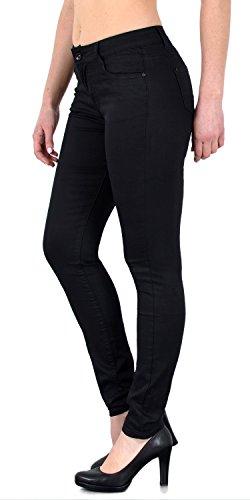ESRA Damen Stretch Hose Skinny Stoffhose High Waist Hose in Vier Farben bis Übergröße H520, H520-schwarz, 38