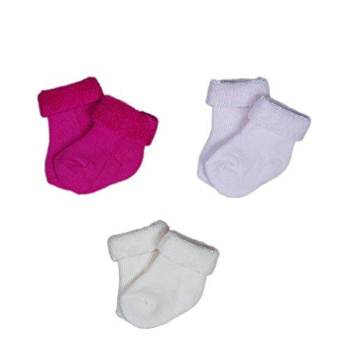 Babysocken Thermosocken Söckchen Frottee 3-er Set pink creme Uni Gr. 9-11 Art. 113003 KNEES und TOES