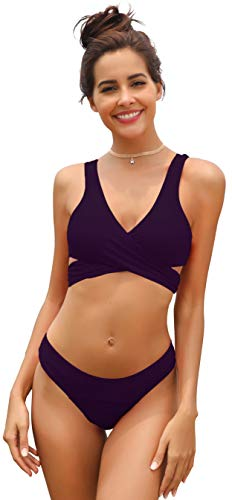 SHEKINI Damen Einzigartig Bikini Set Monochrom Geteilter Badeanzug Mit Quer Brustgurt Weste Bikini Oberteil Und Elastische Triangel-Badehose Solarium Anzug (L, Dunkellila)