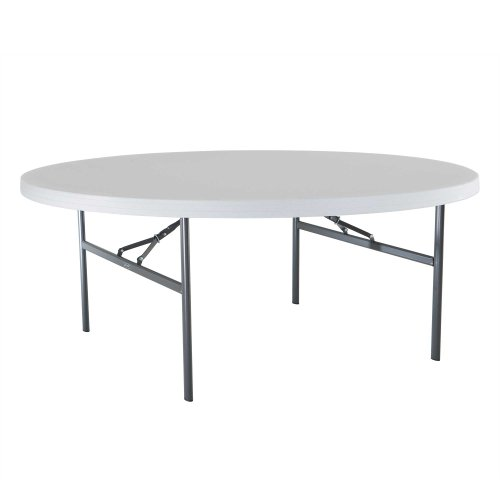 Lifetime 22673 Folding Round Table, 6 Feet, White-Granite