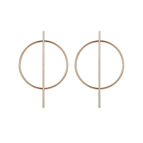 N / A Nigoz Exaggeration Geometric Big Round Circle Bar Hoop Earrings for Women Punk Statement Earrings Gold Creative and Exquisite Workmanship Practical and Cost-Effective