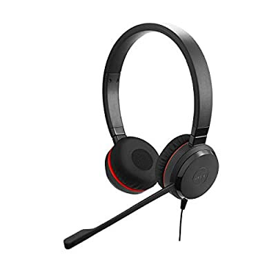 Jabra Evolve 30 MS Stereo Headset – Microsoft Certified Headphones for VoIP Softphone with Passive Noise Cancellation – USB-Cable with Controller – Black by JABD4
