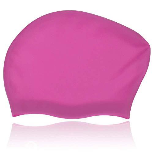 GoodByeReality! Long Hair Swim Cap Women Swim Cap Extra Large Swimming Cap Shower Cap [Dreadlocks, Weaves, Hair Extensions, Braids, Curls & Afros] Women & Men Silicone Caps