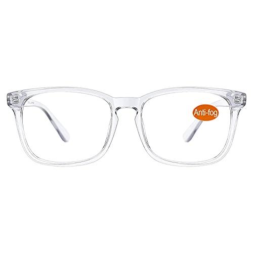 TIJN Blaulichtfilter Brillen Anti blaulicht Damen Herren Brillen ohne sehstärke Computer Brillen Gaming Brillen für PC Handy und Fernseher (27-Transparent(Anti Nebel Brille))