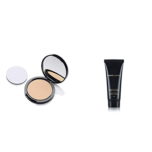 Faces Canada Weightless Stay Matte Compact Vitamin E & Shea Butter, Spf-20 Ivory 01, 9 g And Faces Canada Weightless Matte Finish Foundation, Mini - Ivory, 18 ml