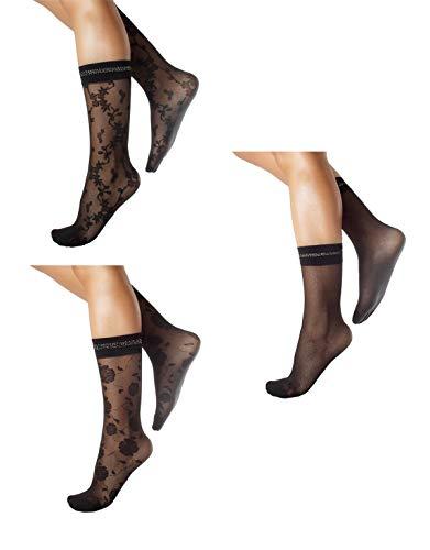 CALZITALY PACK 3 PAAR Feine Socken, Damen Socken, Lurex Socken, Damen Strümpfe, Netz Socken, Netz Kniestrümpfe | Schwarz | Einheitsgröße | Made in Italy (Einheitsgröße, 3 PAAR BLUMENMUSTER)