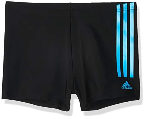 adidas Herren Fitness Semi 3-Streifen Boxer-Badehose, Black/Shock Cyan, 8