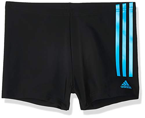adidas Mens Fit Semi3s Bx Swim Trunks, Black/Shock Cyan, 10