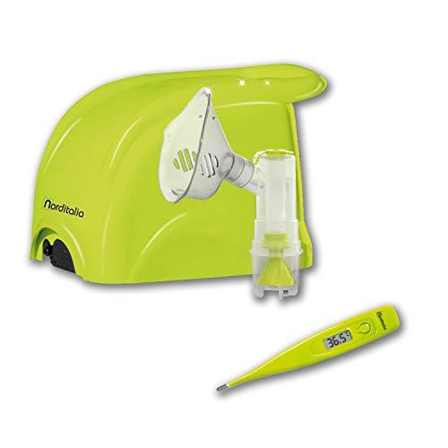 NORDITALIA Aerosol Made in Italy e Termometro Digitale, Veloce Silenzioso, Bambini e Adulti, Tutti gli Accessori Inclusi, 2 Velocità, Inalatore Aerosol per Terapia