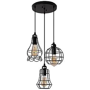 Industrial 3-Light Pendant Lighting, Adjustable Hanging Light Fixtures, Vintage Farmhouse Pendant Light with Metal Caged E26 Base for Kitchen Island Dining Room Living Room Hotel Shop and Bar, Black