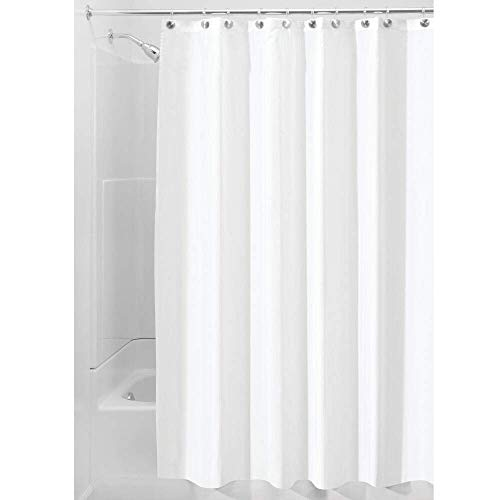 Price comparison product image iDesign Waterproof Shower Curtain,  Long Shower Curtain Made of Polyester,  Stylish and Functional Shower Liner for Bathroom,  White