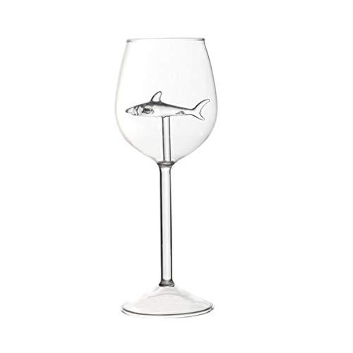 Tancyechy 300ml Copas de Vino Tinto Creativas con tiburón Dentro de Copa sin Plomo Cristal Transparente