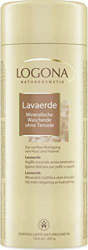 LOGONA Naturkosmetik Lavaerde Pulver, Ghassoul, Tonerde für Haar- & Körperpflege, Natürlich & Vegan, auch für Masken & Peelings, Ohne Tenside, 300g
