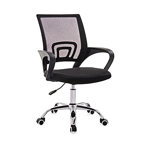Aibecy Silla de oficina con malla, ruedas giratorias 360°, sillas de escritorio, altura regulable, acolchado de esponja grueso, reposabrazos, apoyo lumbar, deslizador para oficina y hogar, color negro