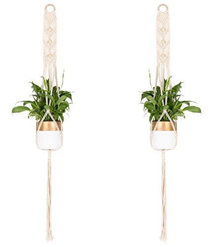 Plante Cintre Porte Plante Pot de fleurs pour intérieur ou extérieur Décorations (2pack cotton rope plant hanger)