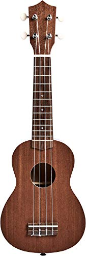 Amazon Basics Soprano Ukulele Bundle with Strings, Tuner, Strap, and Bag - 21-Inch Sapele
