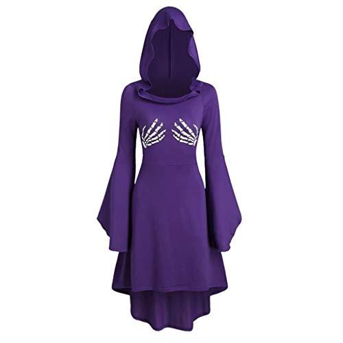 TWIFER Damen Cape Langarm Gedruckt Umhang Schnürung Halloween Kostüm Hooded Midi Kleider (a-Violett,M)