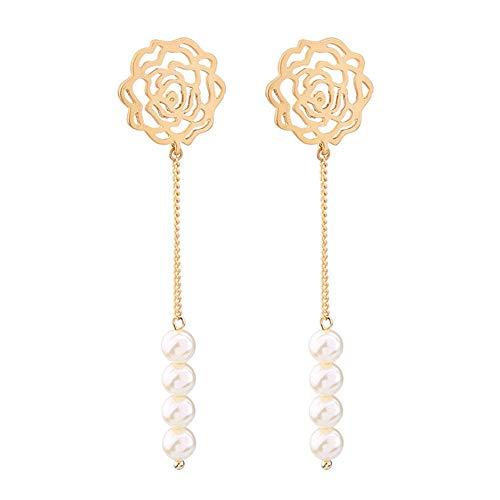 ZRDMN - Pendientes colgantes de lágrima para mujer, estilo europeo y americano, pendientes largos y expuestos, retro, para recoger las perlas y adornos de oreja de aleación de oro
