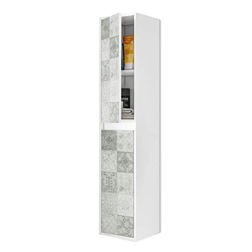 ARKITMOBEL 305074BO - Mueble Lavabo con Estampado de baldosas, Columna de baño Colgante 2 Puertas Acabado en Color Blanco Brillo y Arlo (Mosaico hidráulico), Medidas: 30 x 140 x 25,5 cm de Fondo