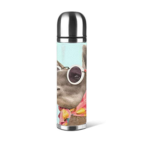 Fashion Lama - Botella de agua de acero inoxidable a prueba de fugas, con aislamiento al vacío, doble pared, de cuero, termo jarra de viaje, 17 onzas