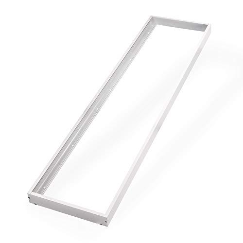 POPP® Kit de Superficie para Panel 30x120 con Marco blanco Fabricado en Aluminio, Kit para Techos - Accesorios Led (300x1200mm)