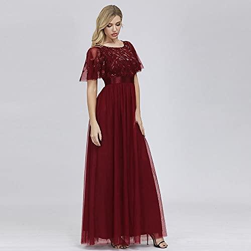 yhfshop Costura elástica Cuello Redondo Fiesta Elegante Vestido de cóctel de Noche Boda Novia Dama de Honor Rojo Vino_L