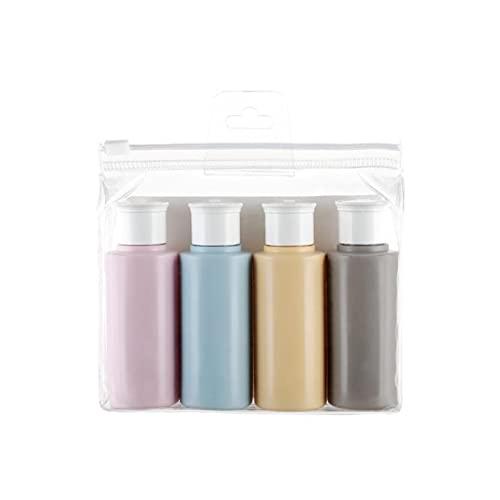 LXHY Contenitore di plastica 4pcs Bottiglie da Viaggio Impostare Bottiglia per Tubo di Peh colorato 60ml Bottiglia di lozione Shampoo Shampoo Doccia Doccia Bottiglie Cosmetici .Facile da trasportare