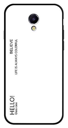 LUSHENG Funda para Meizu M5 Note, Carcasa Trasera de Vidrio Templado Degradado, Funda de TPU Suave para Teléfono, para Meizu M5 Note - Blanco