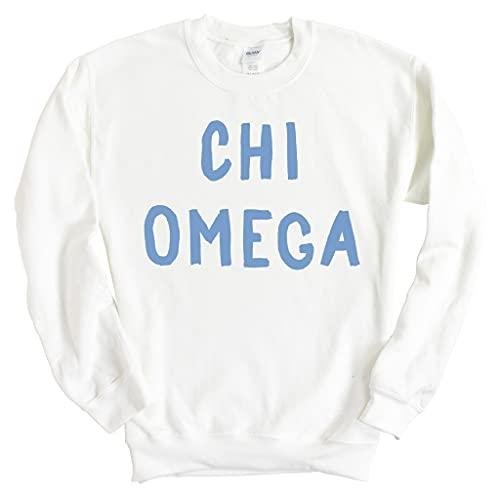 ChiO Chi Omega Blue Bubble Letter Sorority Crewneck Sweatshirt