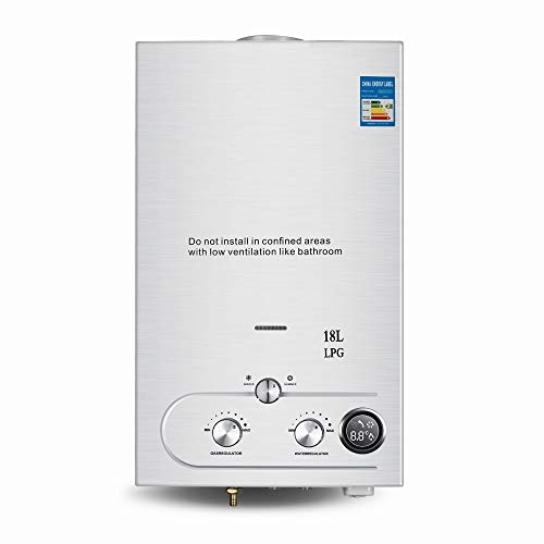 Carejoy Water Heater Propane Gas Tankless Water Heater 4.8GPM 18L LED Display Wall-Mounted Stainless Steel Water Heater with Shower Head Kit Suit for Household or Outdoor, Silver