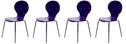 tenzo 0687–081 Flower Designer Lot de 4 chaises, Violet Brillant, Acier, 87 x 46 x 57 cm (HxLxP)