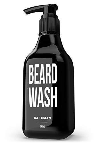 BARBMAN: Champú para Barba (200ml) con Madera de Sándalo, limpieza diaria y a profundidad del rostro y la barba, Regalo ideal para hombres barbudos