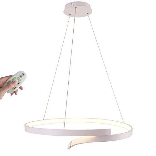 45W LED Suspension Lumière pendante Moderne Lustre Rond Anneau Désign Lampe suspendue pour Chambre à coucher Cuisine Îlot Salle à manger Table à manger Bar Salle de séjour D65CM, Blanc, Dimmable