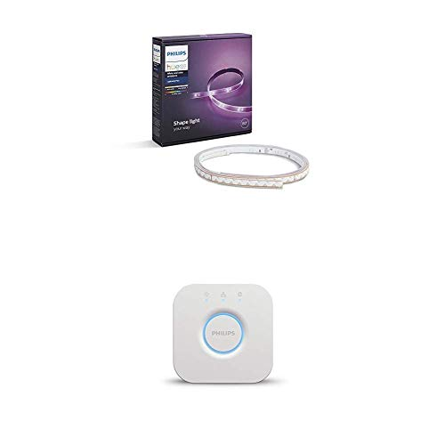 Philips Hue White and Color Ambiance - Kit de Lightstrip Plus y puente, tira luz LED de 2 metros con enchufe, iluminación inteligente, compatible con Amazon Alexa, Apple HomeKit y Google Assistant