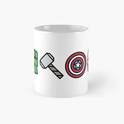 Mar. Vel Super Heroes Icons Classic Mug - Gift The Office 11 Ounces Funny White Coffee Mugs-nilinkep