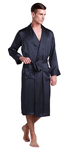LilySilk Seide Morgenmantel Herren Nachtwäsche 100% Maulbeerseide Badmantel 22 Momme (XXXL, Blau) Verpackung MEHRWEG