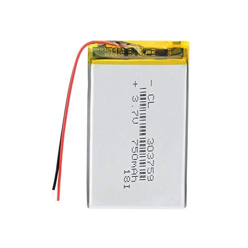 Batería de polímero de Iones de Litio Li-po MP3 MP4 GPS DVD DVR Batería Mid 3.7v 303759 Baterías Recargables de polímero de Litio de 750mAh 5pieces