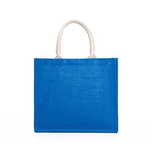 ZZALLL Bolso de Mano de arpillera para Mujer de Moda Bolsos de Embrague en Blanco Bolso de Compras con asa Superior Informal de Gran Capacidad para Bordado de Bricolaje - Azul
