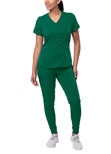Adar Pro Modern Athletic Scrub Set for Women - Modern V-Neck Scrub Top & Yoga Jogger Scrub Pants - P9500 - Hunter Green - M