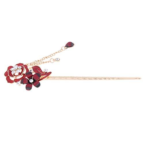 freneci Pin de Pelo Chino para Mujer con Broche de Diamantes de Imitación de Cristal con Borla - Estilo 1-rojo