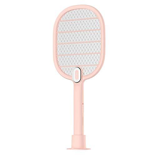 Cloverclover Wiederaufladbare Elektrische Mückenklatsche Big Net Home Mit Led-Leuchten, Pink