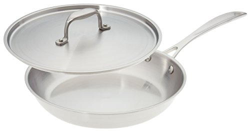American Kitchen Cookware Premium Stainless Steel Skillet with Lid, 10 Inch