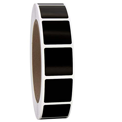 1' Solid Black Square Color Coding Circle Dot Labels on a Roll, Matte Finish, 1000 Stickers, 1 inch x 1 inch