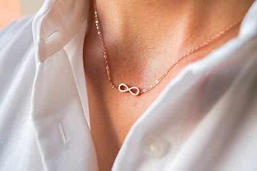 Damen Kette in Rosegold - Filigrane Halskette für Frauen mit Unendlichkeitszeichen Anhänger - Made by Nami Handmade Schmuck - Geschenk zum Geburtstag (Roségold Unendlichkeitssymbol)