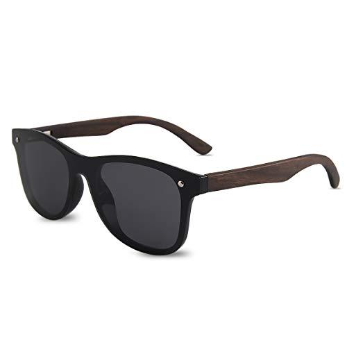 LumiSyne Gafas De Sol De Madera Para Hombre Mujer Polarizadas UV400 Lente De Una Pieza Espejo Anteojos Sin Marco Con Funda De Gafas Para Conducción Viajar Deportivas