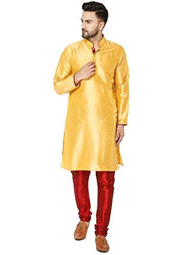 SKAVIJ Herren Tunika Kurta Pajama Set Indisch Party Tragen Outfit (Gold, L)