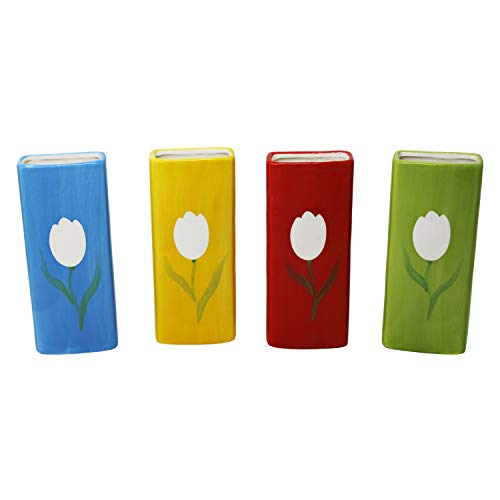 4er Set Luftbefeuchter Wasserverdunster aus Keramik je 300 ml für Heizkörper Set inkl. Haken Verdunster Bunt Wasserverdunster verdampfer verdunster Luftreiniger Rechteckig 20 cm x 8,0 cm x 4 cm
