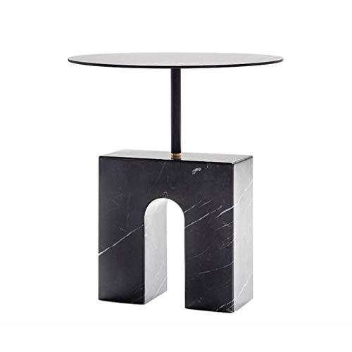 LILICEN LYJ Mesa Redonda de mármol Natural Tabla Creativa de Centro de diseño Sofá Mesa Lateral Negro Metal Diseñador